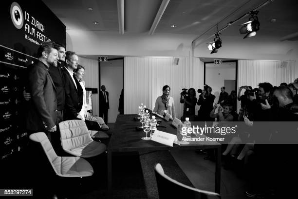 Andy Serkis Andrew Garfield Jonathan Cavendish and Claudia Bluemhuber arrive for the 'Breathe' press conference during the 13th Zurich Film Festival...
