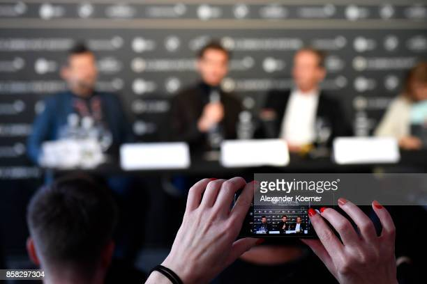Andy Serkis Andrew Garfield Jonathan Cavendish and Claudia Bluemhuber speak during the 'Breathe' press conference during the 13th Zurich Film...
