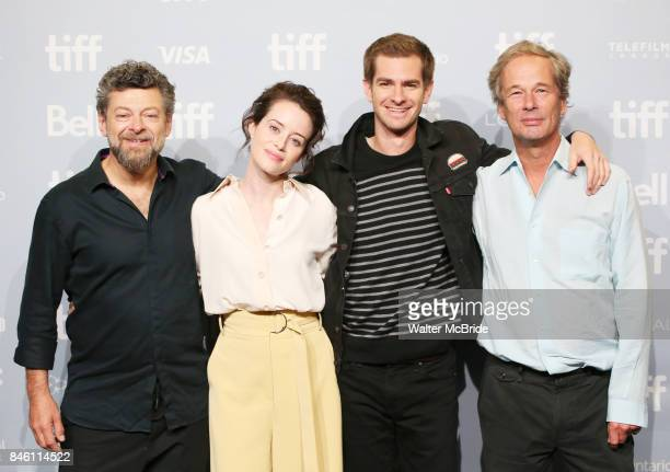 Andy Serkis Claire Foy Andrew Garfield and Jonathan Cavendish attends 'Breathe' photo call during the 2017 Toronto International Film Festival at The...