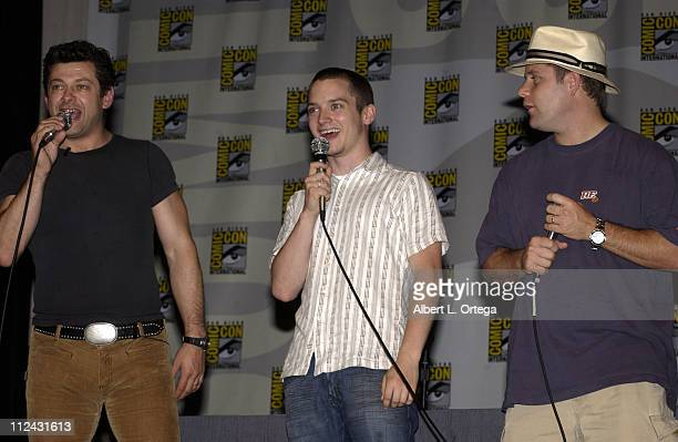 Andy Serkis Elijah Wood Sean Astin during 2003 San Diego Comic Con International Day Three at The San Diego Convention Center in San Diego California...