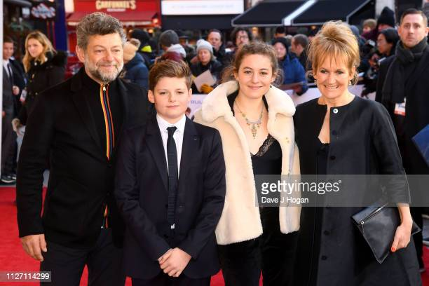Andy Serkis Louis Ashbourne Serkis Ruby Ashbourne Serkis and Lorraine Ashbourne attend a gala screening of The Kid Who Would Be King held at Odeon...