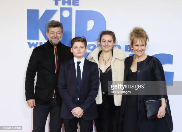 Andy Serkis Louis Ashbourne Serkis Ruby Serkis and Lorraine Ashbourne seen at The Kid Who Would Be King Gala screening at the Odeon Luxe Leicester...