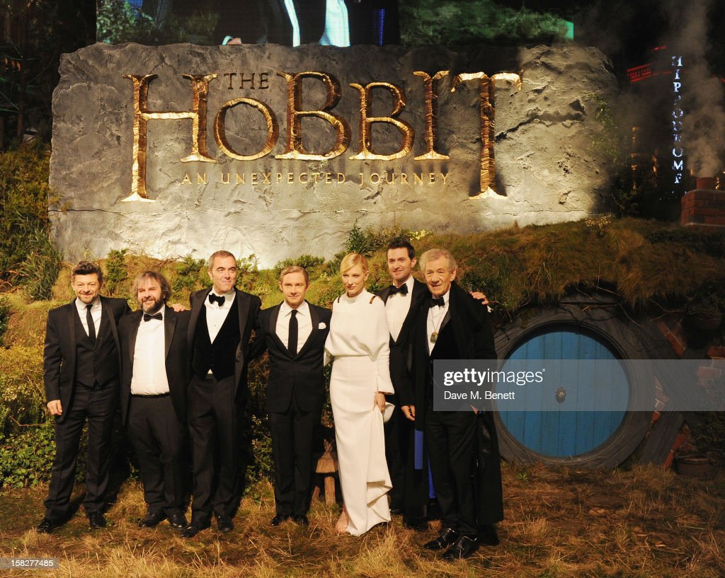 Andy Serkis, Peter Jackson, James Nesbitt, Martin Freeman, Cate Blanchett, Richard Armitage and Sir Ian Mckellen attend the Royal Film Performance of 'The Hobbit: An Unexpected Journey' at Odeon Leicester Square on December 12, 2012 in London, England.