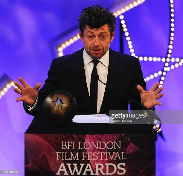 Andy Serkis presents the Best British Newcomer Award during the ceremony for the 54th BFI London Film Festival Awards at LSO St Lukes on October 27...
