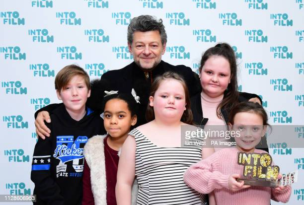 Andy Serkis presents the Rainbow Collective with the Audience Choice Award during the fifth annual Into Film Awards held at the Odeon Luxe in...
