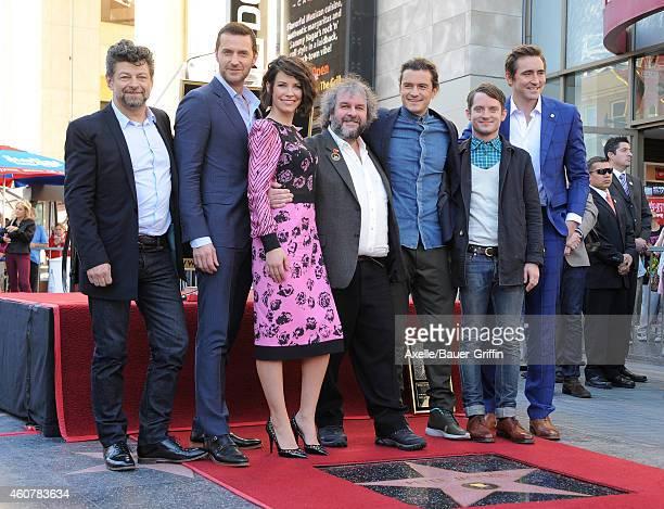 Andy Serkis, Richard Armitage, Evangeline Lilly, Sir Peter Jackson, Orlando Bloom, Elijah Wood and Lee Pace attend the ceremony honoring Sir Peter...