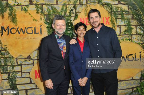Andy Serkis Rohan Chand and Christian Bale attend the premiere of Netflix's 'Mowgli' at ArcLight Hollywood on November 28 2018 in Hollywood California