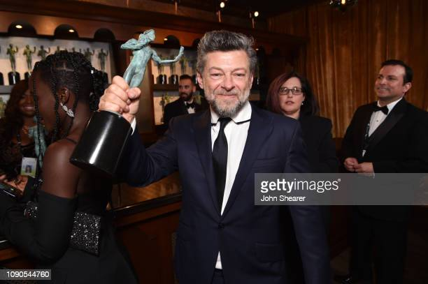 Andy Serkis, winner of Outstanding Performance by a Cast in a Motion Picture for 'Black Panther,' attends the 25th Annual Screen Actors Guild Awards...