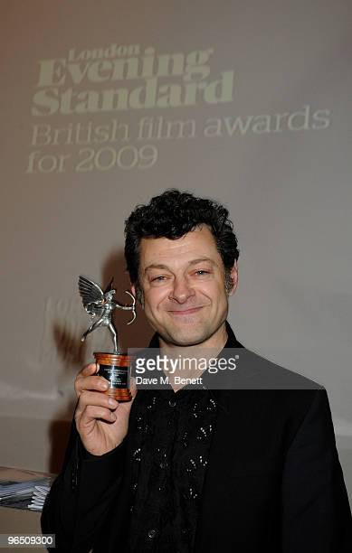 Andy Serkis with his Best Actor Award attend the London Evening Standard British Film Awards 2010 at The London Film Museum on February 8 2010 in...