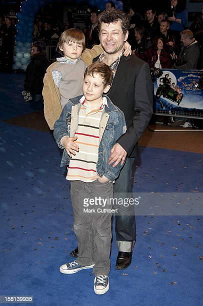 Andy Serkis With His Children Ruby Sonny And Louis Arriving For The World Premiere Of Nanny Mcphee And The Big Bang At The Odeon West End Leicester...