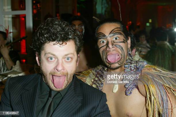 Andy Serkis with Kahurangi dancer during Celebration of New Zealand Filmmaking and Creative Talent at The Beverly Hills Hotel in Beverly Hills,...