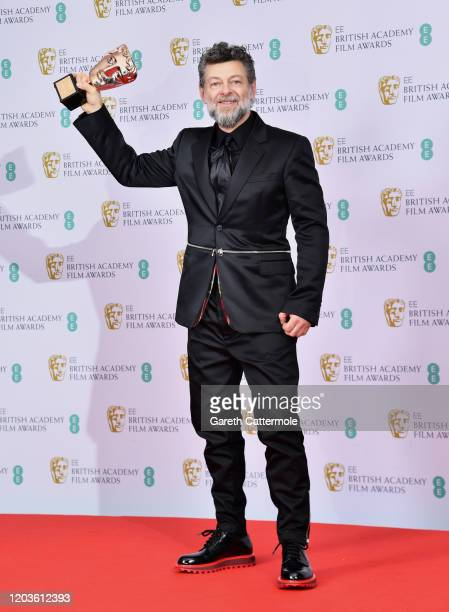 Andy Serkis with the Outstanding British Contribution to Cinema award poses in the Winners Room during the EE British Academy Film Awards 2020 at...