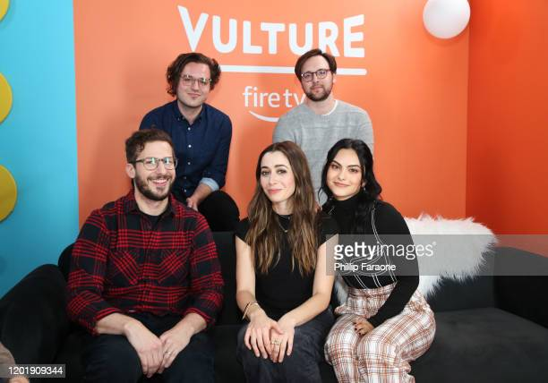Andy Siara, Max Barbakow, Andy Samberg, Cristin Milioti, and Camila Mendes attend The Vulture Spot presented by Amazon Fire TV 2020 at The Vulture...