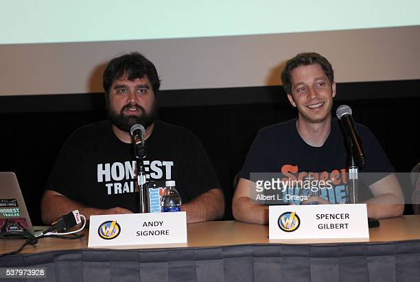 Andy Signore and Spencer Gilbert of Screen Junkies on Day 2 of Wizard World Comic Con Philadelphia 2016 held at Pennsylvania Convention Center on...
