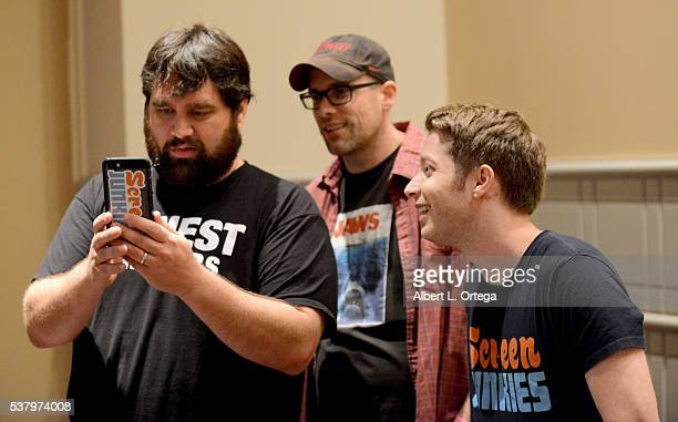 Andy Signore Spencer Gilbert Dan Murrell of Screen Junkies on Day 2 of Wizard World Comic Con Philadelphia 2016 held at Pennsylvania Convention...