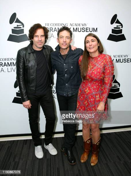 Andy Slater Jakob Dylan and Jade Castrinos attend Echo In The Canyon at The GRAMMY Museum on May 21 2019 in Los Angeles California