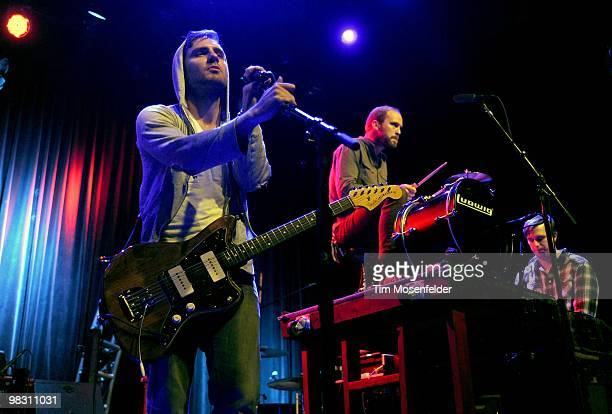 Andy Smith Gavin McDonald and Chad Howat of Paper Route perform in support of the bands' Absence release at The Fillmore on April 5 2010 in San...