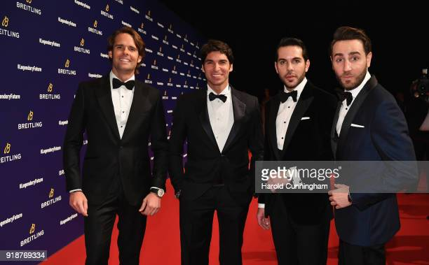 Andy Soucek, Antonio Cayetano Rivera Ordonez, and Los Arys arrive on the red carpet at the '#LEGENDARYFUTURE' Roadshow 2018 Zurich on February 15,...