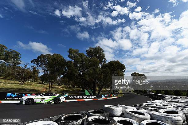 Andy Soucek drives the Mobil 1 Naim Audio Breitling Bentley Continentail GT3 during the Bathurst 12 Hour Race at Mount Panorama on February 7 2016 in...