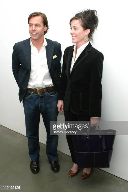 Andy Spade and Kate Spade during Canine Cocktail Party 2003 to benefit Art for Animals at Gagosian Gallery in New York City New York United States