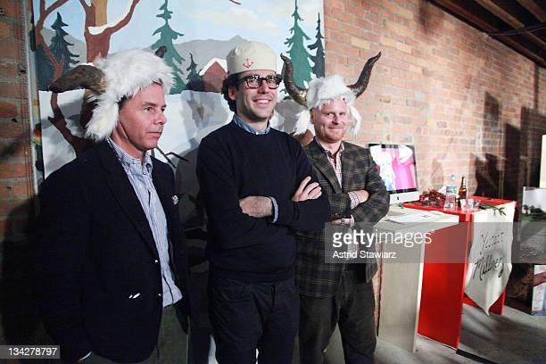 Andy Spade Neil Blumenthal and Anthony Sperduti attend Warby Parker's holiday spectacle bazaar leftover launch on November 29 2011 in New York City