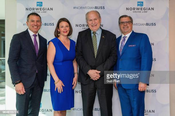 Andy Stuart president and CEO of Norwegian Cruise Line Courtney Gregoire Port of Seattle Commissioner Governor William Walker of Alaska and Frank Del...