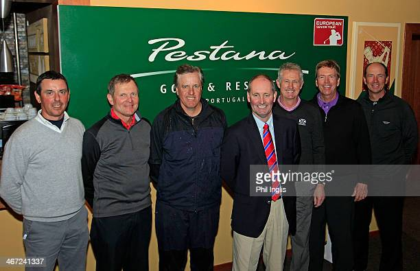 Andy Stubbs Managing Director of the European Senior Tour with the six qualifiers Mauro Bianco of Italy Steve Cipa of England Gary Rusnak of the...