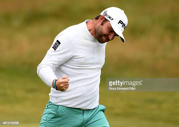 Andy Sullivan of England celebrates his putt for birdie on the 17th hole during the third round of the 144th Open Championship at The Old Course on...