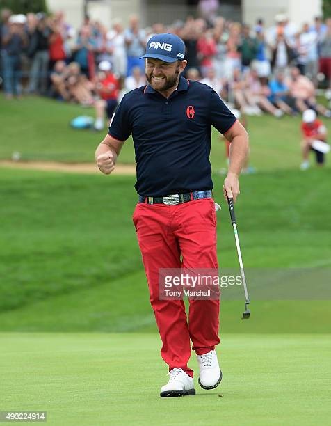 Andy Sullivan of England celebrates winning the Portugal Masters at Oceanico Victoria Golf Club on October 18 2015 in Albufeira Portugal
