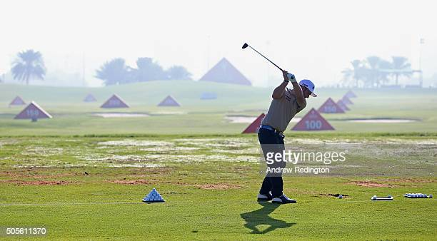 Andy Sullivan of England is pictured on the practice ground during practice prior to the start of the Abu Dhabi HSBC Golf Championship at the Abu...