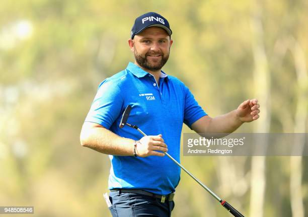 Andy Sullivan of England is seen on the 17th hole during Day One of the Trophee Hassan II at Royal Golf Dar Es Salam on April 19 2018 in Rabat Morocco