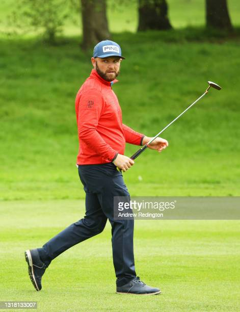 Andy Sullivan of England looks on as he walks on the fifth hole during the Final Round of The Betfred British Masters hosted by Danny Willett at The...