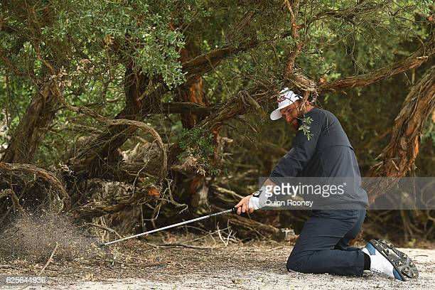 Andy Sullivan of England plays a ball out of the rough during day two of the World Cup of Golf at Kingston Heath Golf Club on November 25 2016 in...