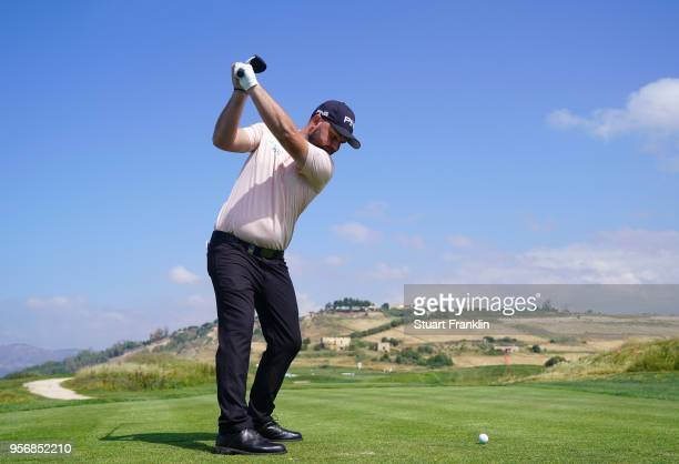 Andy Sullivan of England plays a shot during the first round of the The Rocco Forte Open at the Verdura Gol Resort on May 10 2018 in Sciacca Italy