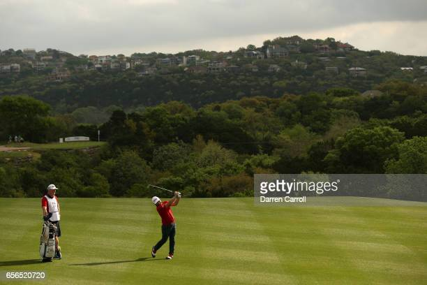 Andy Sullivan of England plays a shot on the 2nd hole of his match during round one of the World Golf ChampionshipsDell Technologies Match Play at...