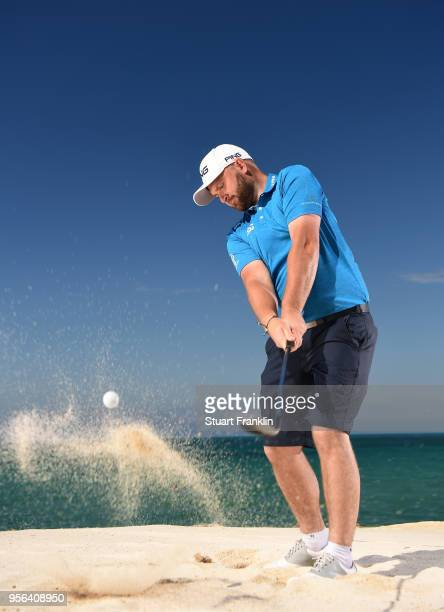 Andy Sullivan of England plays a shot prior to the start of The Rocco Forte Open at the Verdura golf resort on May 9 2018 in Sciacca Italy