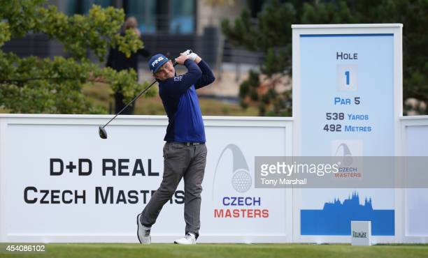 Andy Sullivan of England plays his first shot on the 1st tee during day four of DD REAL Czech Masters at Albatross Golf Resort on August 24 2014 in...