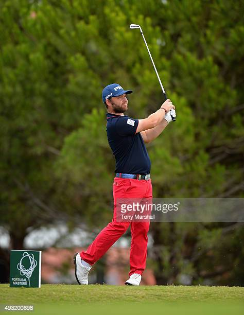 Andy Sullivan of England plays his first shot on the 8th tee during the fourth round of the Portugal Masters at Oceanico Victoria Golf Club on...