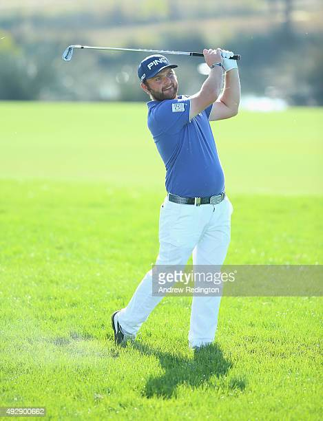 Andy Sullivan of England plays his second shot on the 18th hole during the second round of the Portugal Masters at Oceanico Victoria Golf Club on...