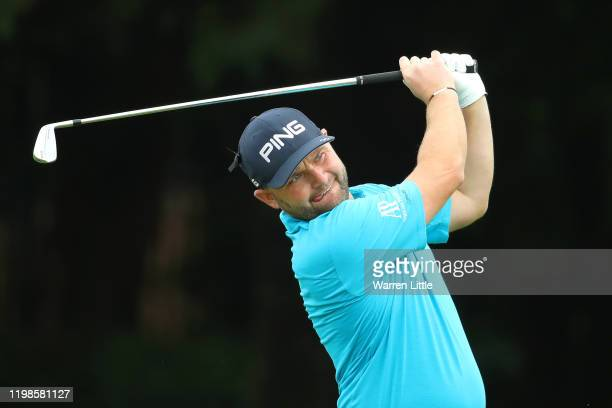 Andy Sullivan of England plays his second shot on the first hole during Day 2 of the South African Open at Randpark Golf Club on January 10, 2020 in...