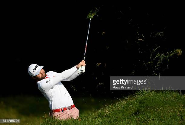 Andy Sullivan of England plays his second shot on the sixth hole during the first round of the British Masters at The Grove on October 13 2016 in...