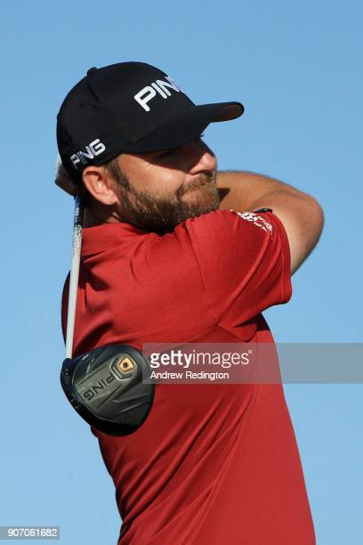 Andy Sullivan of England plays his shot from the third tee during round two of the Abu Dhabi HSBC Golf Championship at Abu Dhabi Golf Club on January...