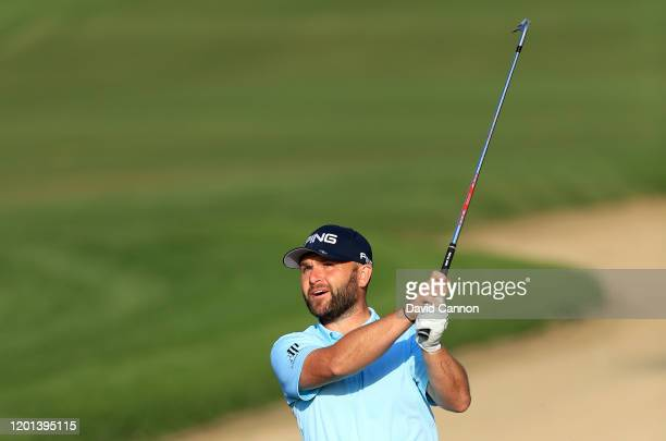 Andy Sullivan of England plays his third shot on the 10th hole during the first round of the Omega Dubai Desert Classic on the Majlis Course at The...