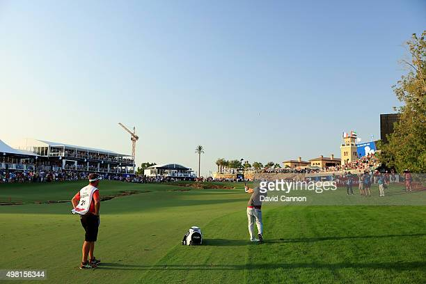 Andy Sullivan of England plays his third shot on the par 5 18th hole during the third round of the 2015 DP World Tour Championship on the Earth...