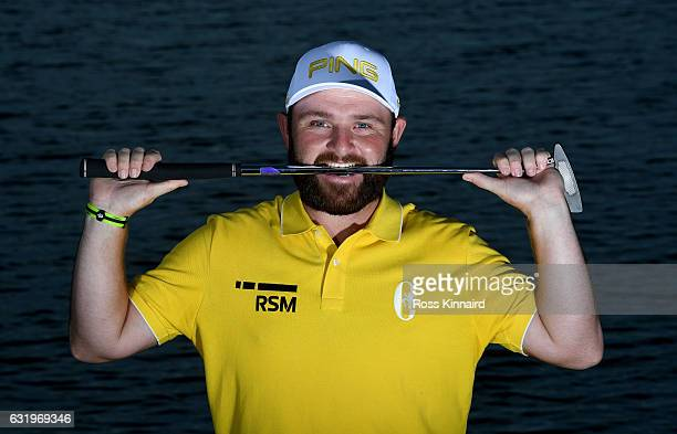 Andy Sullivan of England poses for a picture during the proam event prior to the Abu Dhabi HSBC Championship at Abu Dhabi Golf Club on January 18...