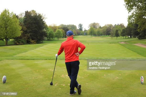 Andy Sullivan of England prepares to tee off on the first hole during the Final Round of The Betfred British Masters hosted by Danny Willett at The...