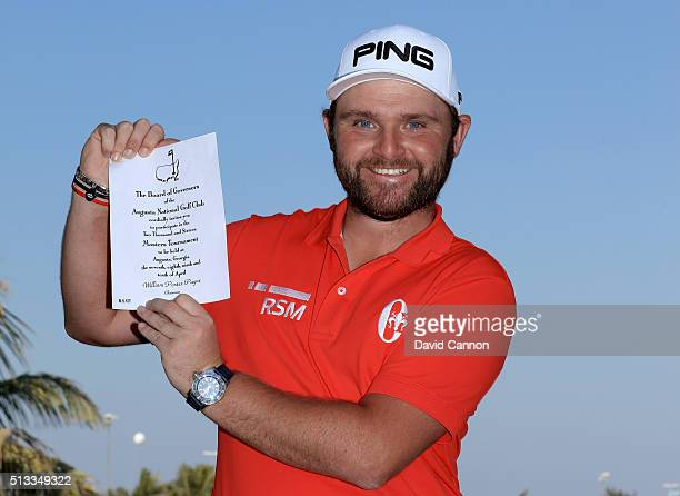 Andy Sullivan of England proudly holds his invitation to the 2016 Masters Tournament at Augusta National which will be his first appearance there as...