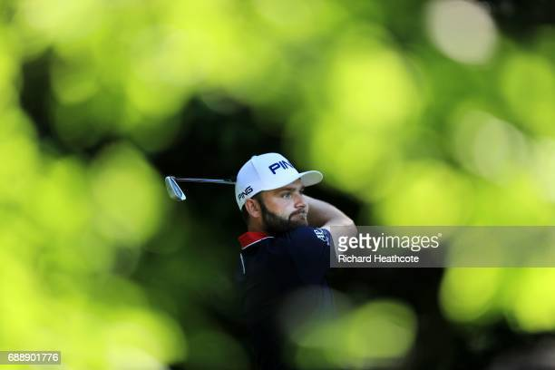 Andy Sullivan of England tees off on the 5th hole during day two of the BMW PGA Championship at Wentworth on May 26 2017 in Virginia Water England