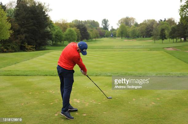 Andy Sullivan of England tees off on the first hole during the Final Round of The Betfred British Masters hosted by Danny Willett at The Belfry on...