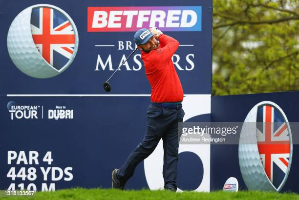 Andy Sullivan of England tees off on the sixth hole during the Final Round of The Betfred British Masters hosted by Danny Willett at The Belfry on...